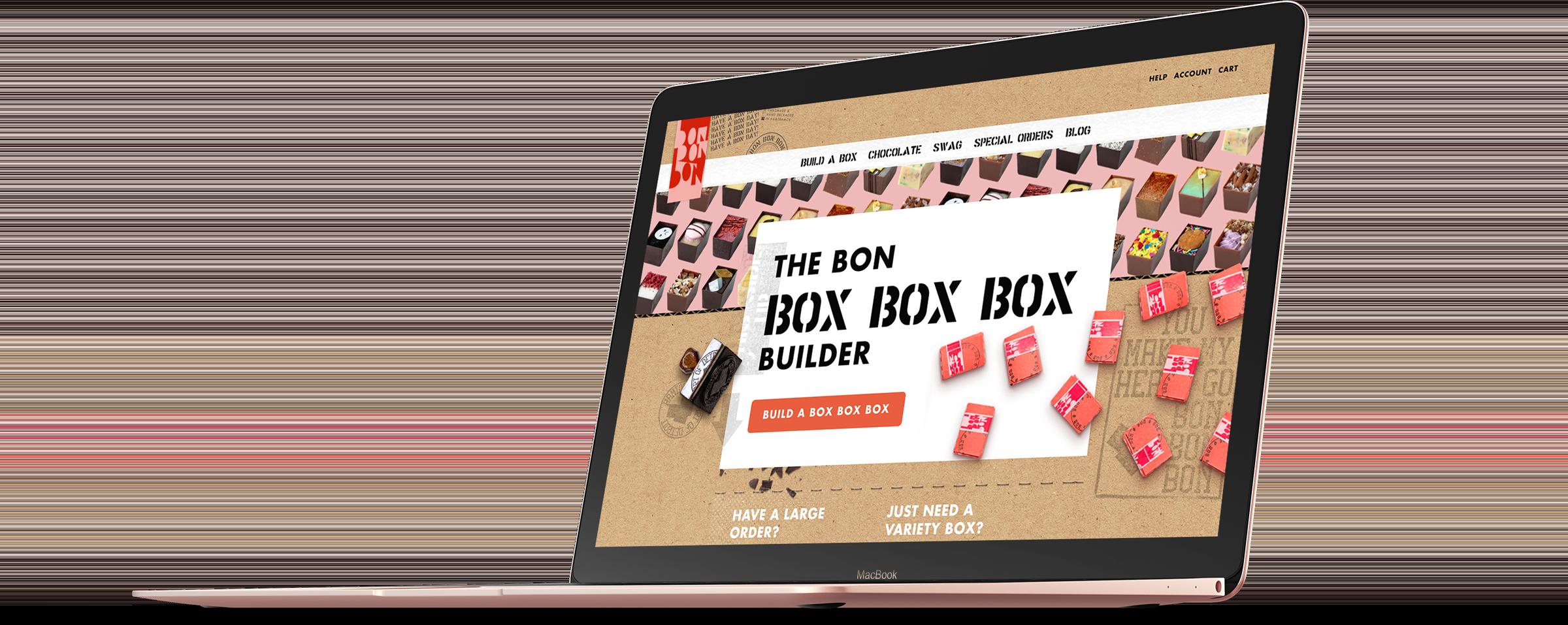 bon bon bon box builder on laptop